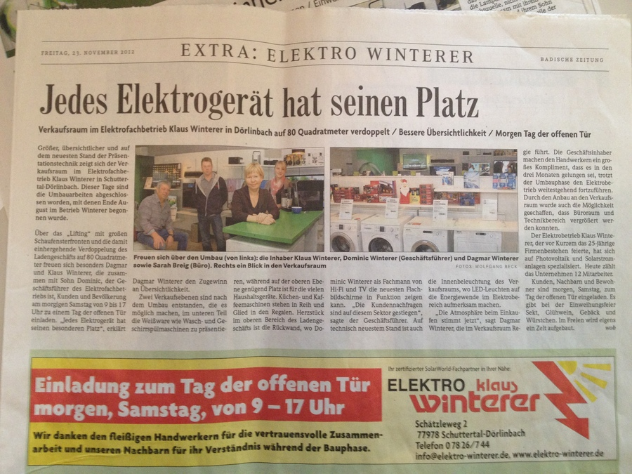 Neuer Verkaufsraum Elektrofachgeschäft Winterer
