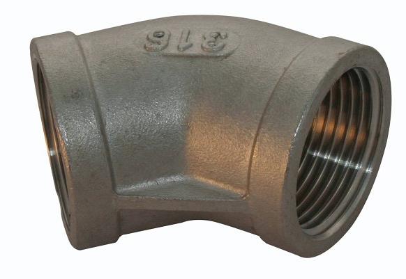 <strong>Art. Nr. 303</strong> &ndash; Winkel 45 Grad, Innengewinde Werkstoff =V4A/316, 150 lbs, Innengewinde nach DIN 2999.