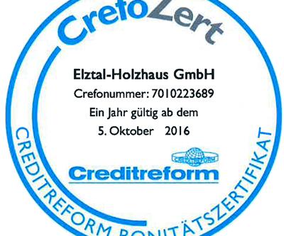 Elztal Holzhaus erhält - CrefoZert Bonitätszertifikat