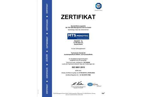 Zertifizierung nach ISO 9001:2015